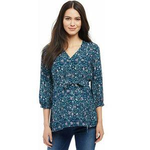 Maternity top - 3/4 sleeves teal floral